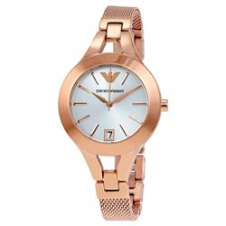 NEW ARMANI SILVER DIAL ROSE GOLD WATCH.MSRP $414