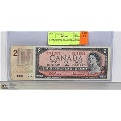 2 CANADIAN $2 BILLS 1959 AND 1986