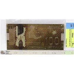 24 K CARAT GOLD $100 BANK NOTE