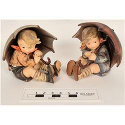 """Pair of Hummel Statues """"Umbrella Boy"""" and """"Umbrella Girl""""  (125660)"""
