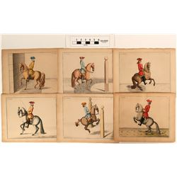 Hand-Colored French Horsemanship Prints (6)  (108687)