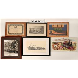Framed Rail Road Memorabilia (Lot of 6)  (122770)