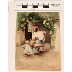 Watercolor of African-American Woman Plucking a Chicken  (124608)