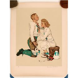 Football Hero -- Norman Rockwell Signed Lithograph   (117713)