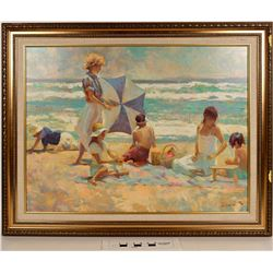 Beach Scene Pastel Giclée, Numbered  (124990)
