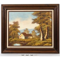 County Cottage Oil Painting on Canvas with Wooden Frame by artist C. Tom  (119707)