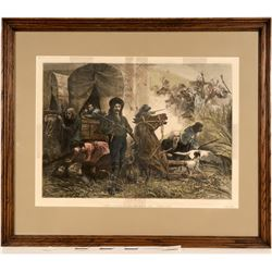 Emigrants Attacked by Indians - Harper's Weekly Framed Print  (125066)