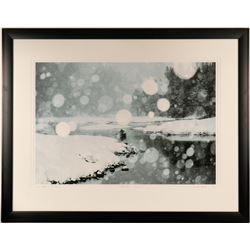 Lone Paddler in Snow Storm Limited Edition Print, Keoki Flagg  (125150)