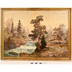 Mountain River Scene Oil Painting  (124993)