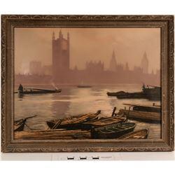 Smoky Canoe's on Water - Framed Scene by Henry Jourdain  (125000)