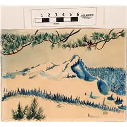 Snowy Piney Mountain Watercolor by Henri  (124629)