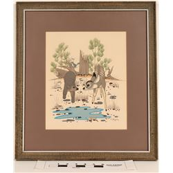 Beatien Yazz Native American Art: Young Deer and Bear Sharing a Waterhole  (123120)