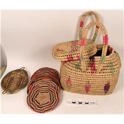 Ten Mexican Style Palm Baskets  (122773)