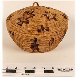 Figural Polychrome Lidded Washoe Basket  (124481)