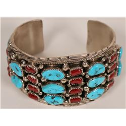Sterling Silver Turquoise and Coral Cluster Cuff Bracelet  (120988)