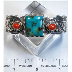 Navajo Turquoise and Coral Bracelet   (125161)