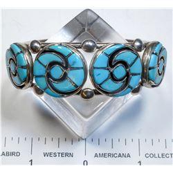 Annie Quam Gasper Inlaid Zuni Turquoise Bracelet  (125170)