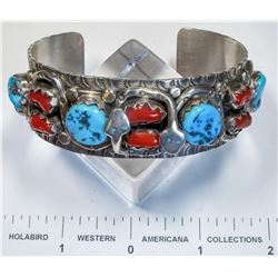 Large Size Turquoise and Coral Bracelet w/ Snake Motif   (125171)