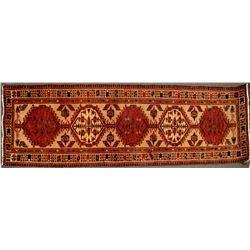 Persian Rug Runner, 11 Feet long, warm amber tones  (124476)