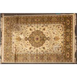 "Persian Style Floor Rug, 90 x 63"", Olive Tones  (124477)"