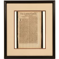 Beautifully Framed London Gazette from January 29, 1684  (123121)