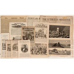 Collection of 1800's English and American Newspapers and News Print  (123111)