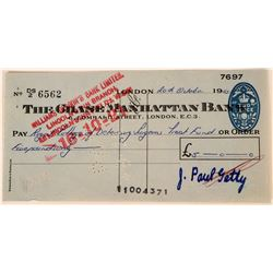 J. Paul Getty Autograph Signed Check  (124815)
