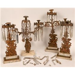 Victorian Candelabra with Hanging Crystals  (124479)
