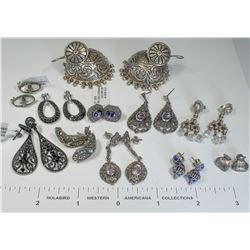 Marcasite, Moonstone and other Vintage Earrings (12 Pairs)  (124847)