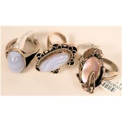 Onyx and Sterling Silver Rings (3)  (121526)