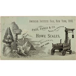 American Institute Fair New York 1880 Store Card for Howe Scales  (124106)