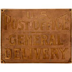 U.S. Post Office General Delivery Brass Sign  (124081)