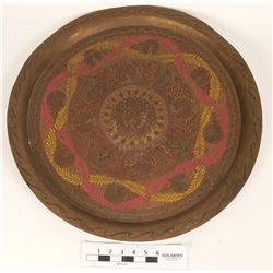Large Brass Tray, Peacock Motif  (108660)