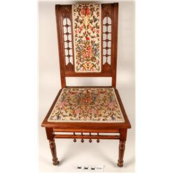Straight Back Chair With Embroidered Seat & Back  (122790)