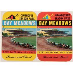 Bay Meadows 1950 Season Passes (2)  (124091)