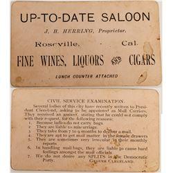 Roseville California Saloon Card  (122879)