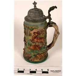 Beer Stein, Ceramic with Metal Lid  (108741)