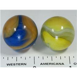Akro Agate Corkscrew Marbles (2) - shooter size  (125054)