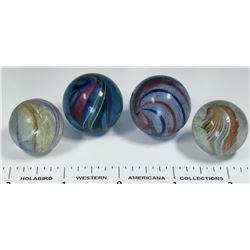 Latticino (2),  Divided core marbles (2)  (125057)
