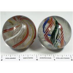 Latticino core marble, Divided core marble (2)  (125405)