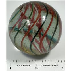 Latticino red and white core marble. Large.  (125410)