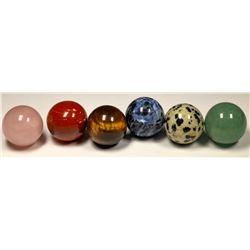 Stone Marbles (spheres) (6)  (125426)