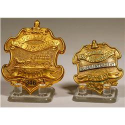 Philadelphia Fire Insurance Co. Patrol Badges (Lot of 2)  (125302)