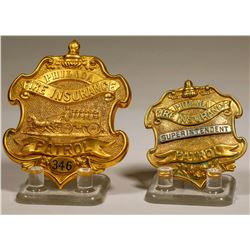 Philadelphia Fire Insurance Co. Patrol Badges (Lot of 2)  (125302)