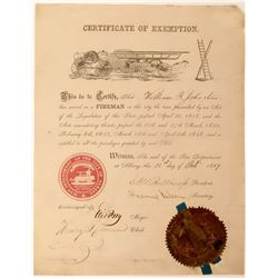 Certificate of Exemption for William T. Johnston From Albany NY Fire Dept.  (125630)