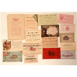 Firemen's Ball Invitations and/or Tickets (16)  (125556)