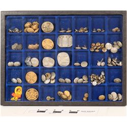 Firemen's Uniform Buttons & Insignias in Display Case  (125311)