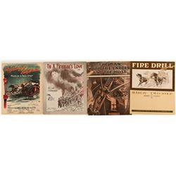 Sheet Music with Fire Themes (4)  (125325)
