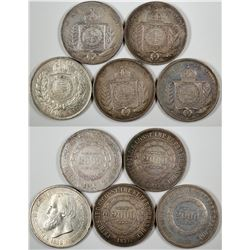 Five Different Dates Silver 2000 Reis  (122845)