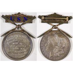 U. S. Navy Mounted 1891 Silver Dollar - Cutter Race  (126192)